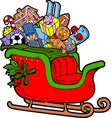 Santas Sleigh Filled with Christmas Toys and Presents Vector