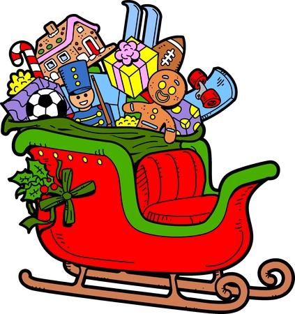 toy sack: Trineo de Santa llenado de los juguetes de Navidad y Regalos