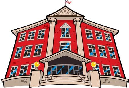 imposing: Grande Imponente Red Brick Scuola con la bandiera americana Vettoriali