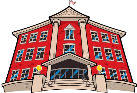 college building: Large Imposing Red Brick School Building with American Flag