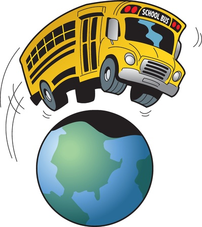 autobus escolar: Caricatura de un autob�s escolar que va de excursi�n a cualquier parte del mundo