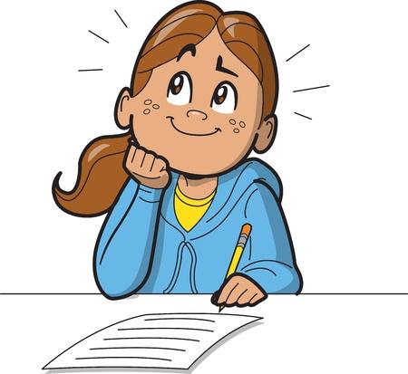 Écolière ou femme prenant un test ou en remplissant un formulaire ou un sondage