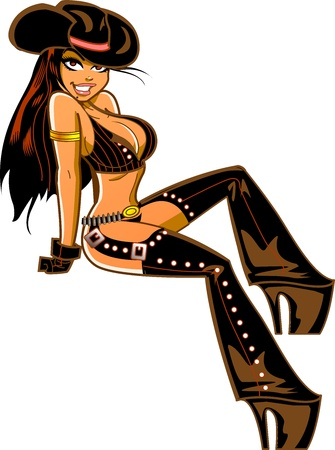 Sexy Smiling Brunette Cowgirl with Chaps Leaning Back Stock Vector - 20686799