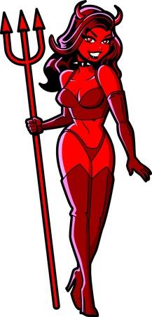 Sexy sonriente muchacha del diablo rojo de Halloween con Pitchfork