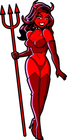 diavoli: Sexy sorridente Halloween Red Devil Girl With Pitchfork