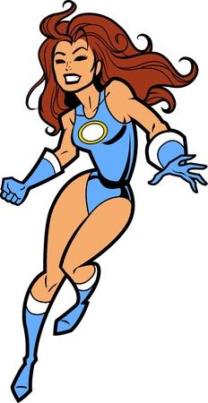 Sexy Vrouwelijke Brunette Superhero met gebalde tanden en Fist en Blauw Kostuum
