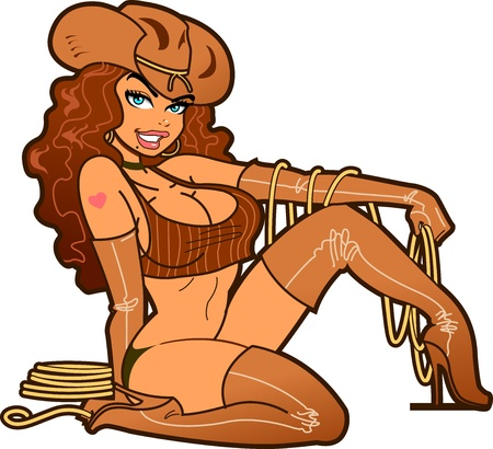 nude pretty girl: Sexy Smiling Cowgirl with Lasso Wearing Brown Leather