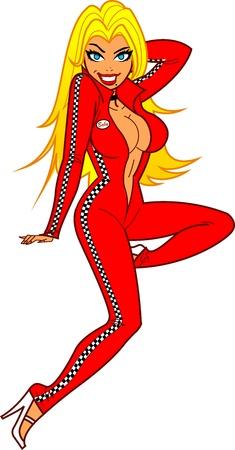 Sexy Blonde Female Racing Fan in Body Suit