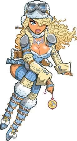 Sexy Blonde Snow Steampunk Girl