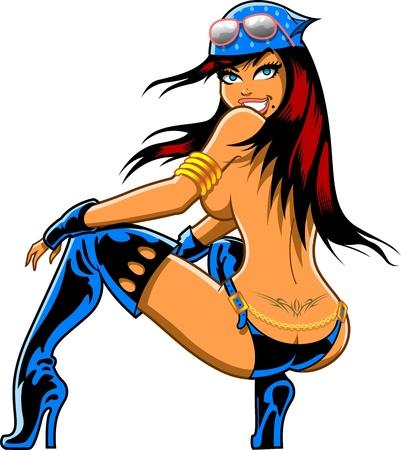 sexy meisje: Sexy Biker Girl Kraken Met Bandana, zonnebril en laarzen Stock Illustratie