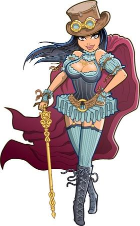 emo: Sexy Victoriaanse Steampunk Vrouw met Cloak, Top Hat en Goggles