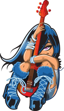 Pretty Shy Emo Goth Punk Rock Girl With Bass Guitar Vector