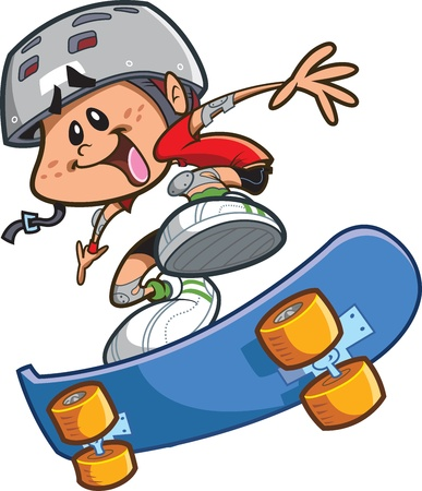 幸せな漫画スケート少年ヘルメットを着用し、クールなトリックをやっています。  イラスト・ベクター素材