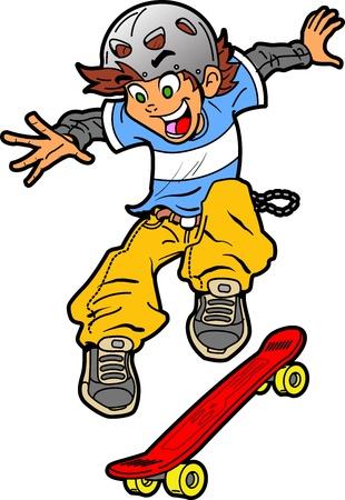 niño en patines: Diversión fresca skater haciendo un truco Extreme