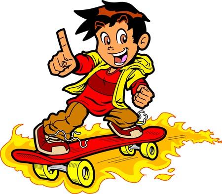 """niño en patines: Boy Skateboarding fresco en el fuego que da el """"Número Uno"""" gesto de mano Vectores"""
