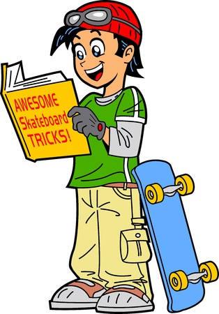 Happy Skateboarder Reading a Book of Skateboard Tricks
