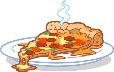 pizza pie: A Hot Slice Of Pizza on a Plate Illustration