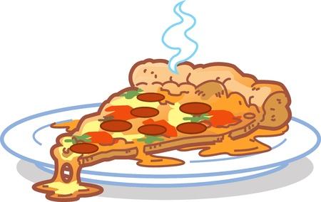 vegetable cartoon: Una rebanada de pizza caliente en una placa