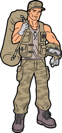 us military: Handsome Smiling American Soldier with Duffel Bag Illustration