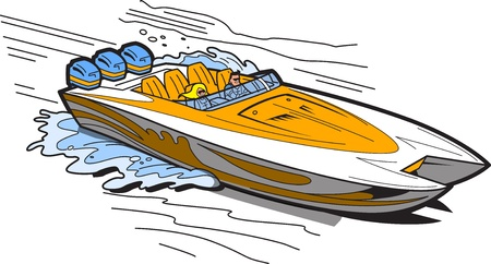 Illustrazione di un motoscafo veloce sull'acqua
