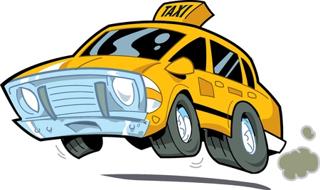 Cartoon Illustration of a Speeding New York City Taxi