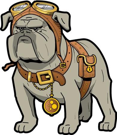 steampunk goggles: Bulldog Steampunk Tough fresco con gafas y reloj de bolsillo