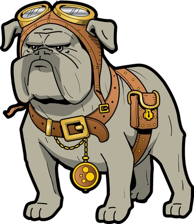 Cool Tough Steampunk Bulldog with Goggles and Pocket Watch Ilustração