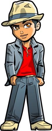 Stijlvolle Jonge Etnische Man Met Suit, Fedora en Kraag omhoog Stock Illustratie
