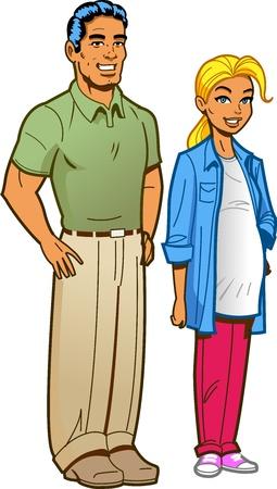 familia animada: Ilustración de dibujos animados de una linda pareja suburbana atractiva con la esposa embarazada Vectores