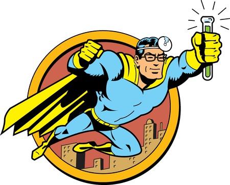doctor dibujo animado: Retro Classic Superhero doctor Medic sobrevolar la ciudad con los vidrios y el vial de Cure Antídoto Serum