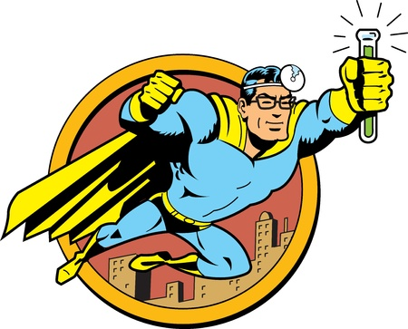 Retro Classic Superhero Doctor Medic Flying Over the City with Glasses and Vial of Cure Serum Antidote