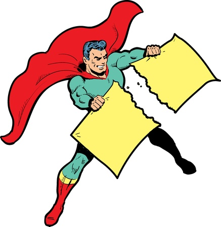 Classic superhero ripping paper or sign (for which you provide your own text or graphics) in half Ilustração
