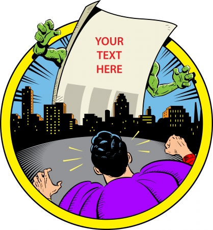 heroic: Classic Retro Superhero Ready to Fight Paper Monster Displaying Your Custom Message Over City Skyline  Illustration