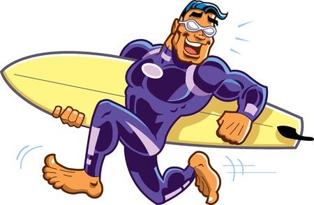 surfeur: Courir pieds nus heureux Surfer Dude avec lunettes de soleil et de planche de surf Illustration