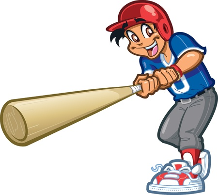 baseball cartoon: Happy Smiling Baseball Softball Little League Player Swinging a Giant Bat with Batters Helmet