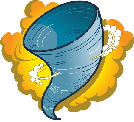 Cartoon Graphic of a Tornado, Hurricane or Water Spout Vector
