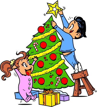 Young Boy and Girl Trimming the Christmas Tree and Putting the Star on Top Vector