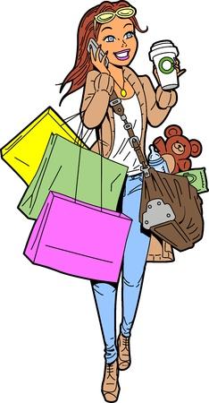 madre trabajadora: Mam� Unstoppable es super ocupado y multitarea Vectores