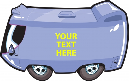 camper: Van Tour Bus Cartoon Illustration that you can customize with your own text or graphic