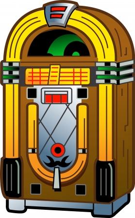 jukebox: Cartoon Illustration of a Vintage Antique Jukebox