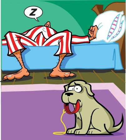 striped pajamas: El hombre sigue durmiendo, pero es hora para pasear al perro