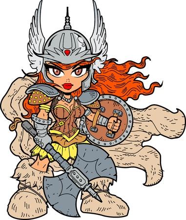 Tough Sexy Anime Manga Warrior Princess Met Strijdbijl en Schild Vector Illustratie
