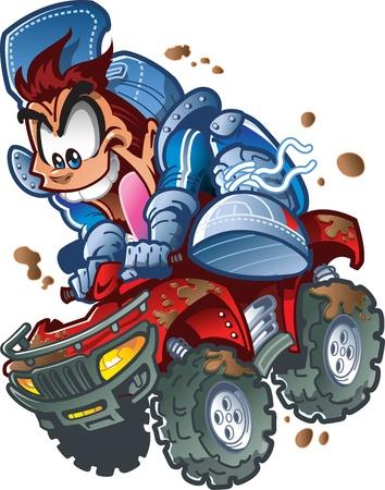 Wilde Lachend Vierling ATV Rider Het maken van een sprong in de modder