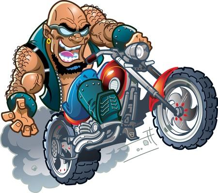 pandilleros: Loco calvo sonriente Amigo motorista salvaje con las gafas de sol de la motocicleta