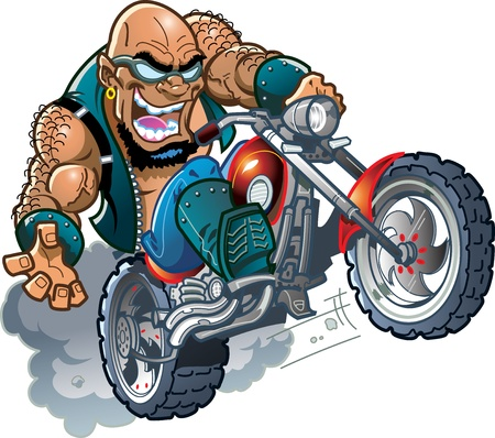 Wild Crazy Bald Smiling Biker Dude with Sunglasses on Motorcycle Vector