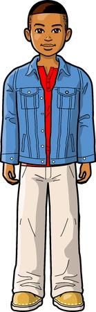 niño: Young Boy étnico con la chaqueta del dril de algodón de pie recto