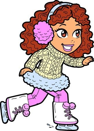 muffs: Cute Young Brunette Ice Skating Con paraorecchie e via cavo maglione maglia