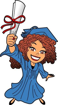 卒業証書、キャップとガウンの卒業式で幸せな笑顔若い女