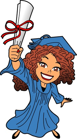 Happy Smiling Young Woman at Graduation With Diploma, Cap and Gown Vector