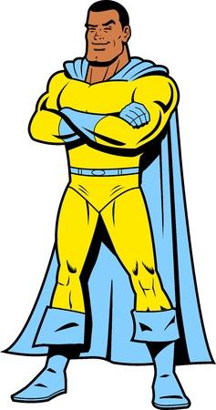 noir: Sourire Noir Superhero classique en pose héroïque Illustration